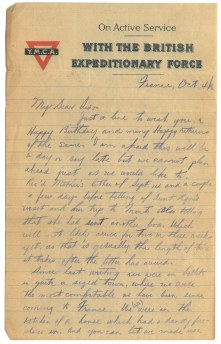 Lettre de Serg. Edwin Stewart Turner à sa soeur
