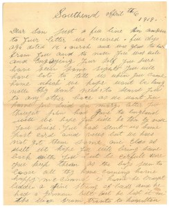 "Lettre de ""Mme William Barker à son fils"""