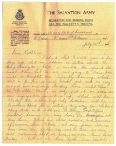 """Lettre """"Le soldat de première classe Sydney Young Cameron à son amie, Kathleen Whitney"""""""