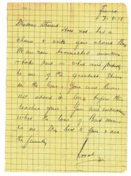 """Lettre de """"Lt Col Royal Ewing à son frère Stuart"""""""