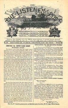 """Page couverture de """"The Listening Post"""" 20 janvier 1916"""