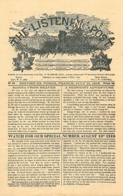 """Page couverture de """"The Listening Post"""" 21 juillet 1916"""
